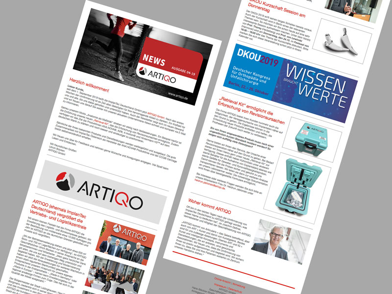 Newsletter-Design ARTIQO